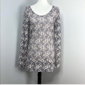 Anthro Paper Crane Lace Spun Splendor Top